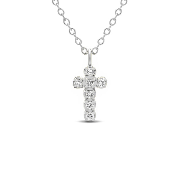 14K Solid Gold Diamond Cross Choker Necklace White Gold