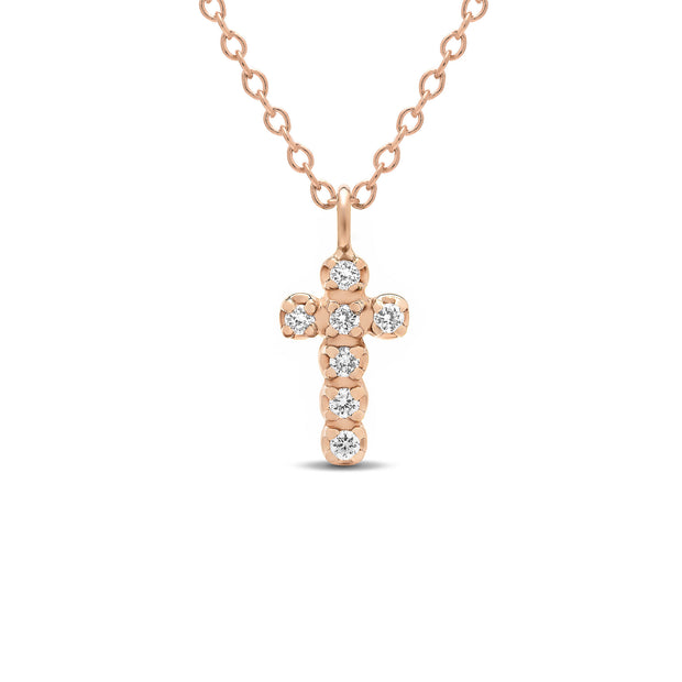 14K Solid Gold Diamond Cross Choker Necklace Rose Gold