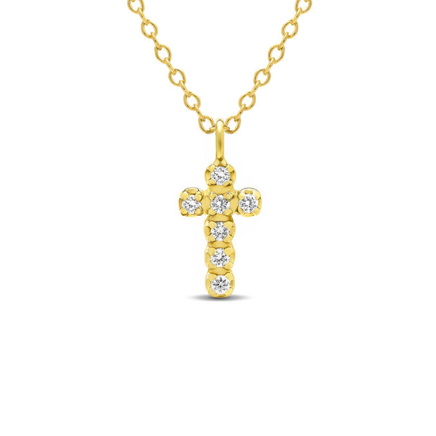 14K Solid Gold Diamond Cross Choker Necklace