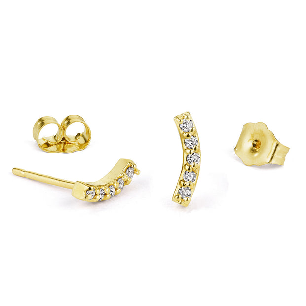 14K Solid Gold Curved Diamond Bar Studs