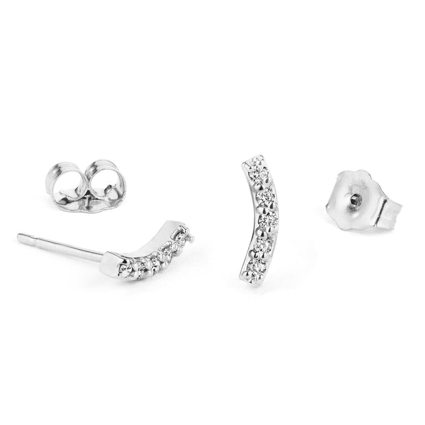 14K Solid Gold Curved Diamond Bar Studs White Gold