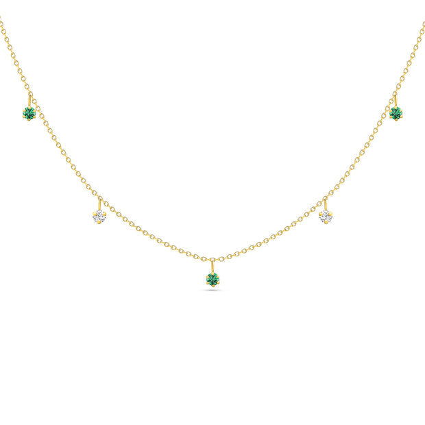 14K Solid Gold Dangling Emerald and Diamond Necklace