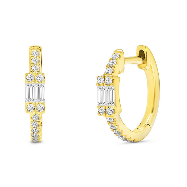 14K Solid Gold Double Baguette Pave Diamond Hoops