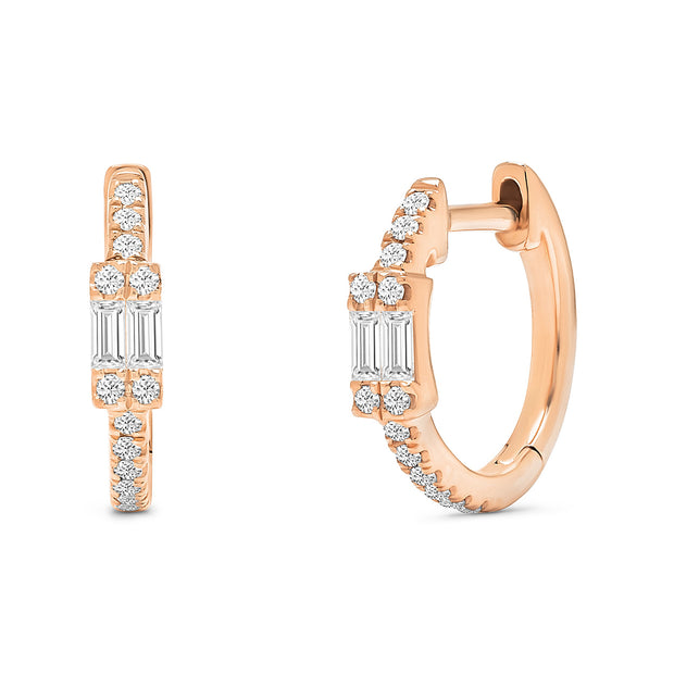14K Solid Rose Gold Double Baguette Pave Diamond Hoops
