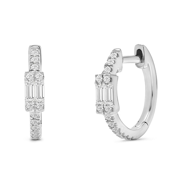 14K Solid White Gold Double Baguette Pave Diamond Hoops
