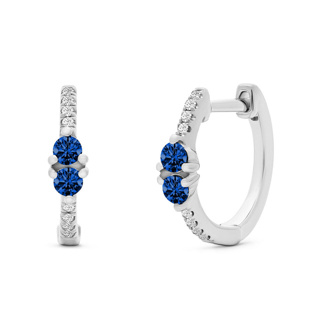 14K Solid White Gold Blue Sapphire Sweetheart Pave Diamond Hoops