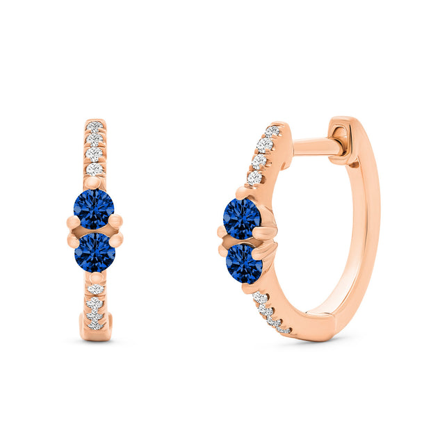 14K Solid Rose Gold Blue Sapphire Sweetheart Pave Diamond Hoops