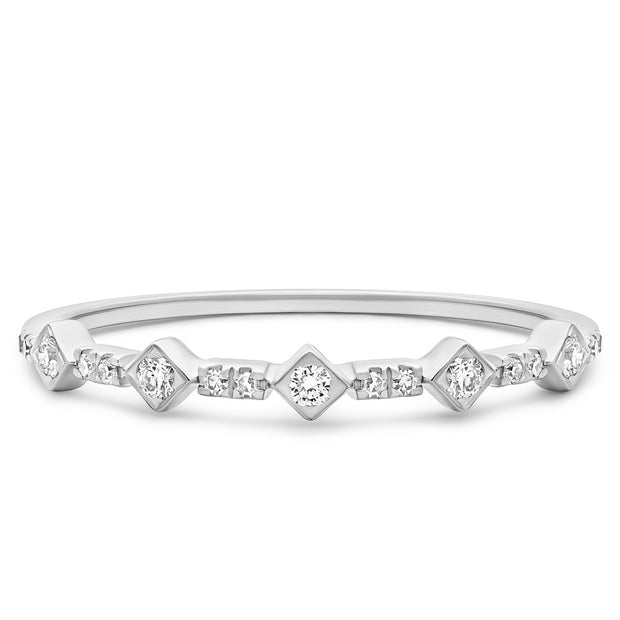 14K Solid White Gold Art Deco Design Half Eternity Pave Band