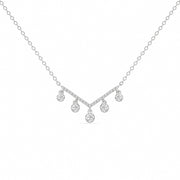 14K Solid White Gold Dangling Diamonds Chevron Pave Necklace