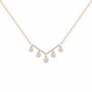14K Solid Rose Gold Dangling Diamonds Chevron Pave Necklace