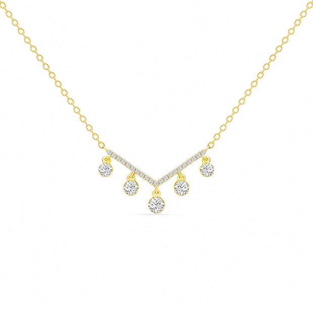 14K Solid Gold Dangling Diamonds Chevron Pave Necklace