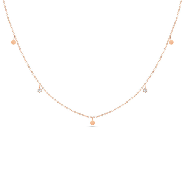 14K Solid Rose Gold Dangling Diamond Disc Necklace