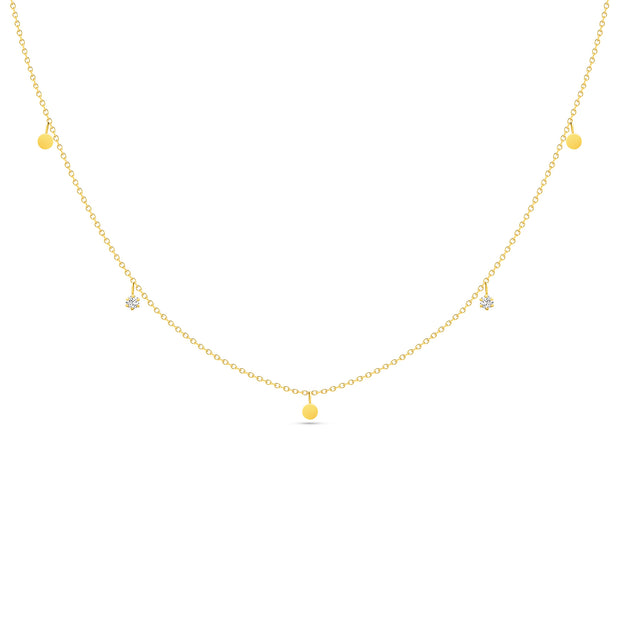14K Solid Gold Dangling Diamond Disc Necklace