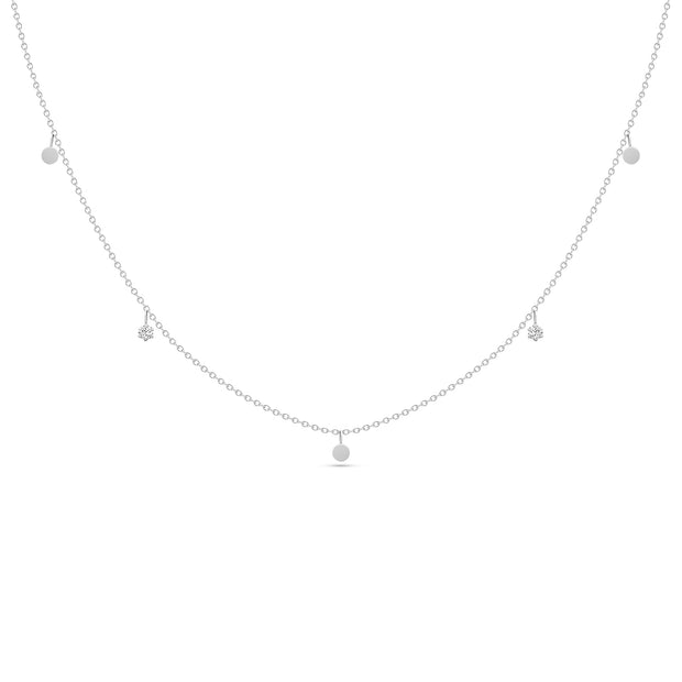 14K Solid White Gold Dangling Diamond Disc Necklace