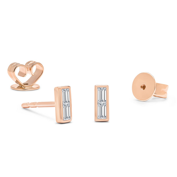 14K Solid Rose Gold Baguette Bezel Diamond Studs