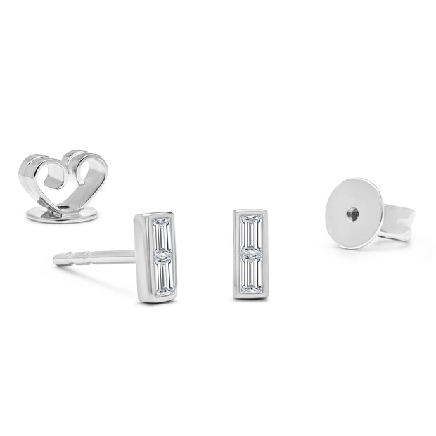 14K Solid White Gold Baguette Bezel Diamond Studs