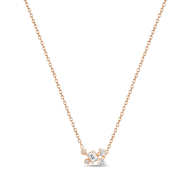14K Solid Rose Gold Emerald Cut Multi Shape Diamond Necklace
