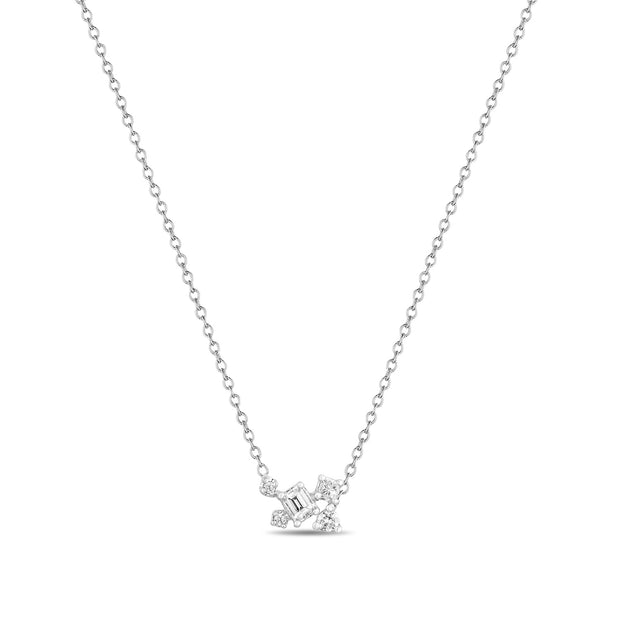 14K Solid White Gold Emerald Cut Multi Shape Diamond Necklace