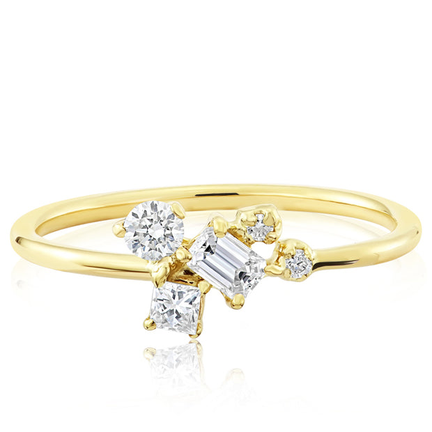 14K Solid Gold Multishape Emerald Cut Princess Round Diamond Cluster Ring