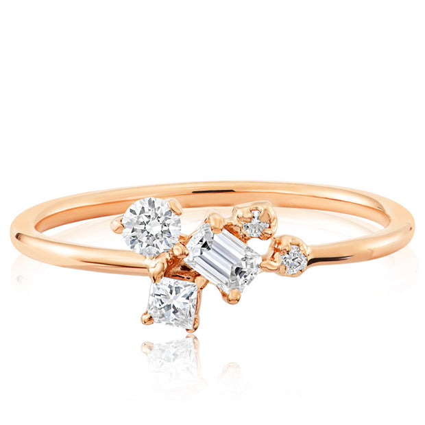 14K Solid Gold Multishape Emerald Cut Princess Round Diamond Cluster Ring Rose Gold