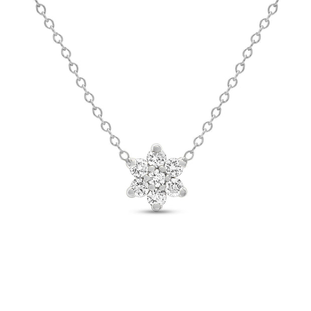 14K Solid Gold Diamond Cluster Flower Necklace White Gold