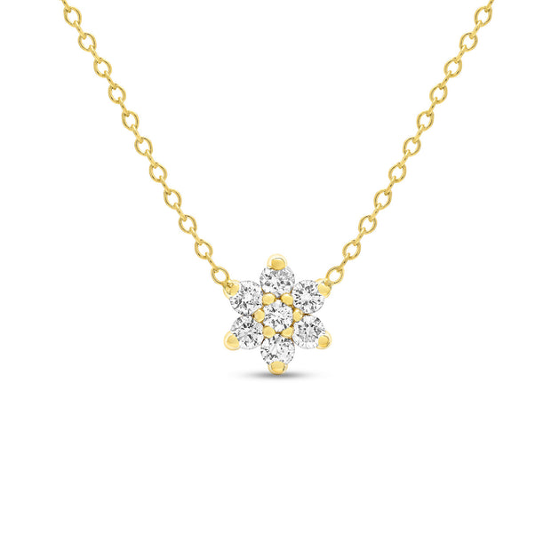 14K Solid Gold Diamond Cluster Flower Necklace