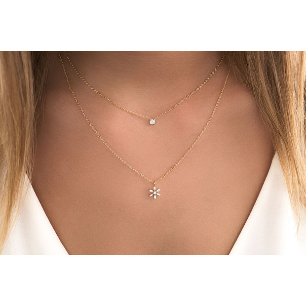 14K Solid Gold Diamond Solitaire Four Prong Necklace Model 1