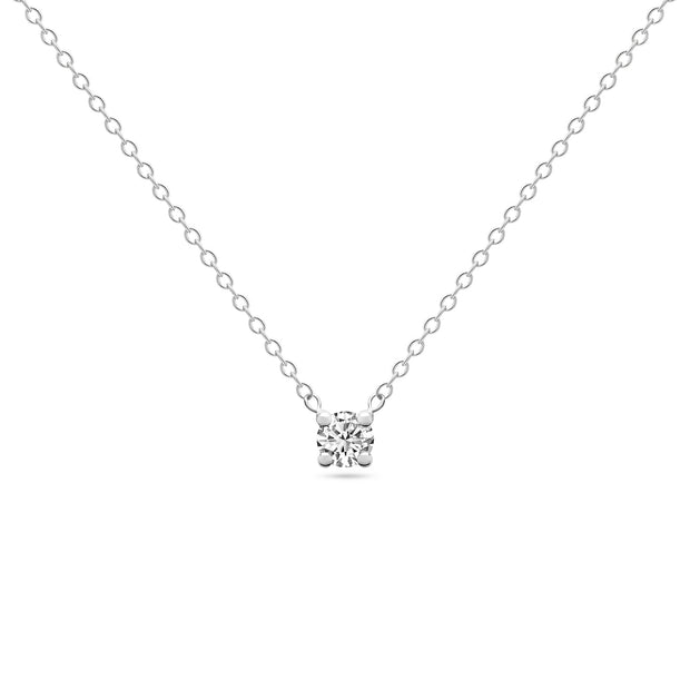 14K Solid White Gold Diamond Solitaire Four Prong Necklace