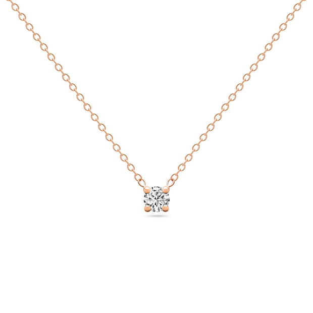 14K Solid Rose Gold Diamond Solitaire Four Prong Necklace