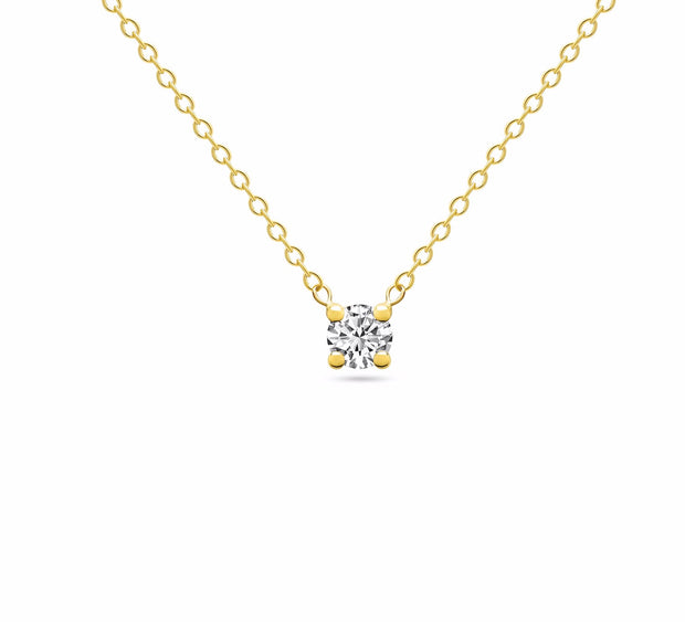 14K Solid Gold Diamond Solitaire Four Prong Necklace