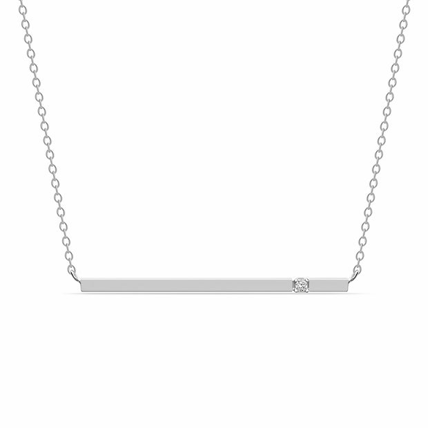 "14K Solid Gold Diamond Minimalist 1.5"" Bar Necklace White Gold"