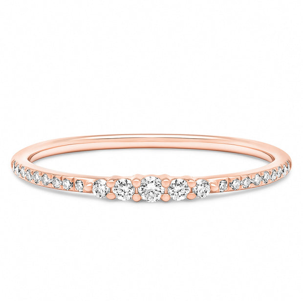 14K Solid Rose Gold Graduated Round Brilliant Cut Diamond Pave Band