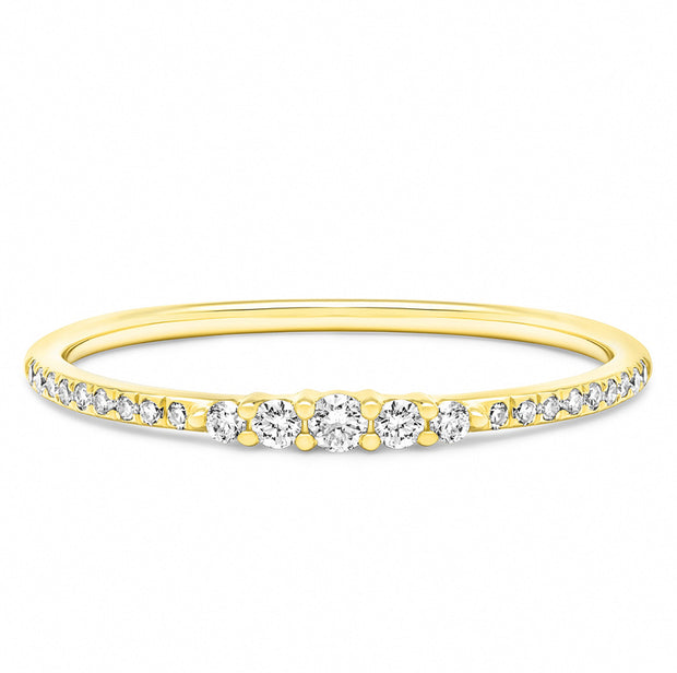 14K Solid Gold Graduated Round Brilliant Cut Diamond Pave Band