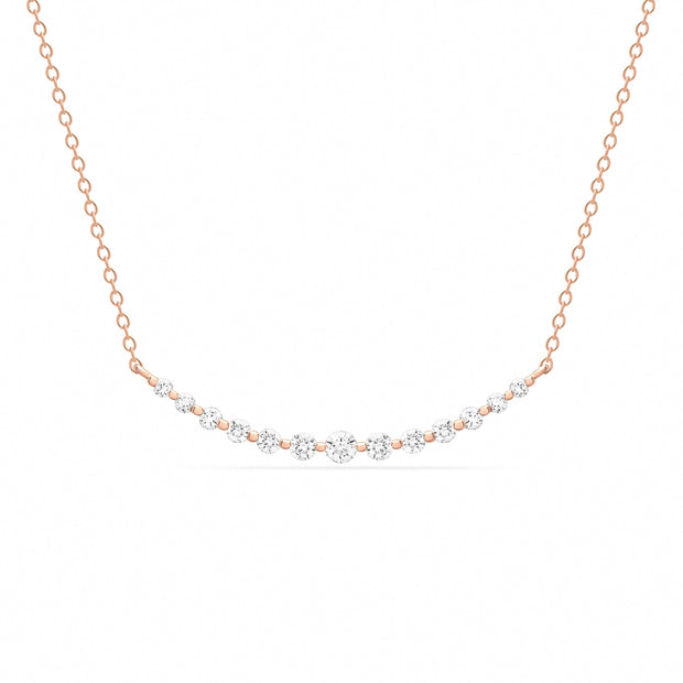 14K Solid Gold Graduated Diamond Bar Necklace Rose Gold