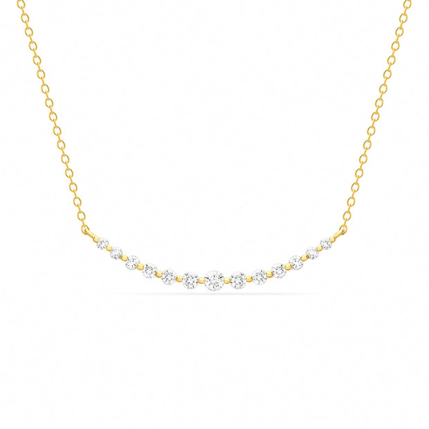 14K Solid Gold Graduated Diamond Bar Necklace