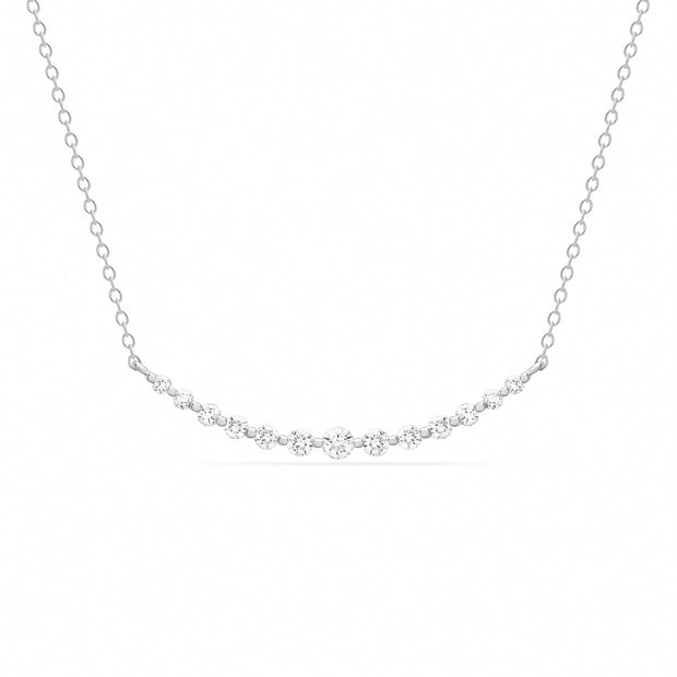 14K Solid Gold Graduated Diamond Bar Necklace White Gold