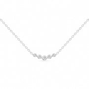 14K Solid White Gold Graduated 5 Stone Diamond Curved Bar Necklace