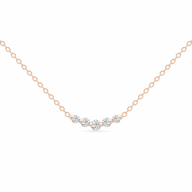 14K Solid Rose Gold Graduated 5 Stone Diamond Curved Bar Necklace