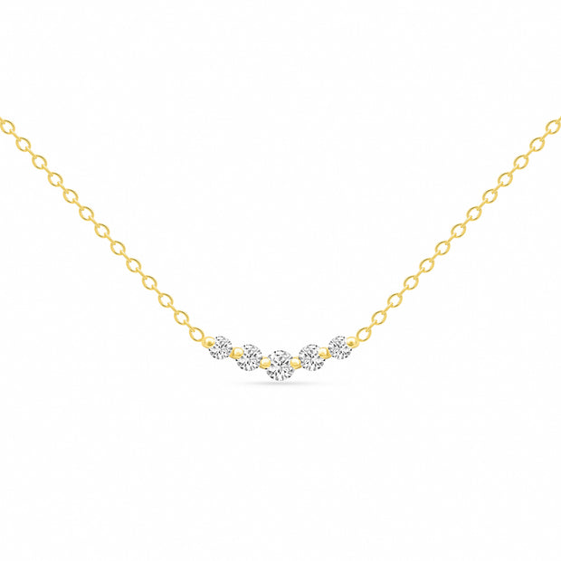 14K Solid Gold Graduated 5 Stone Diamond Curved Bar Necklace