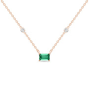 14K Solid Rose Gold Green Emerald Diamond By Yard Necklace