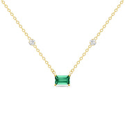 14K Solid Gold Green Emerald Diamond By Yard Necklace