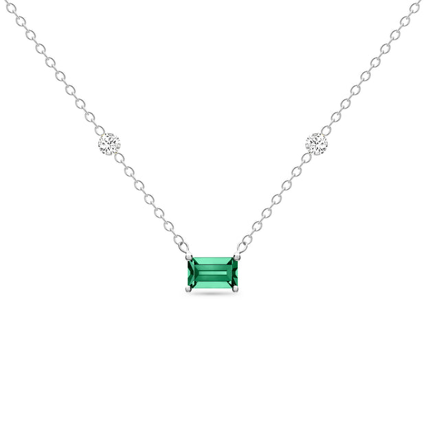 14K Solid White Gold Green Emerald Diamond By Yard Necklace