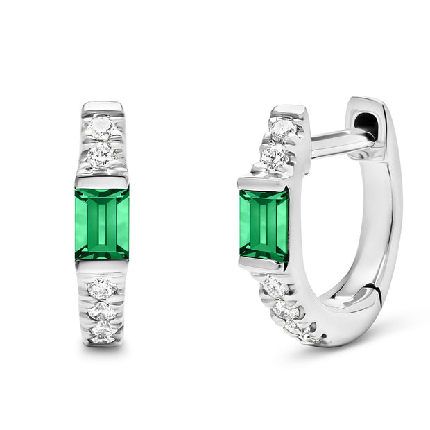 14K Solid White Gold Natural Emerald Pave Diamond Hoops