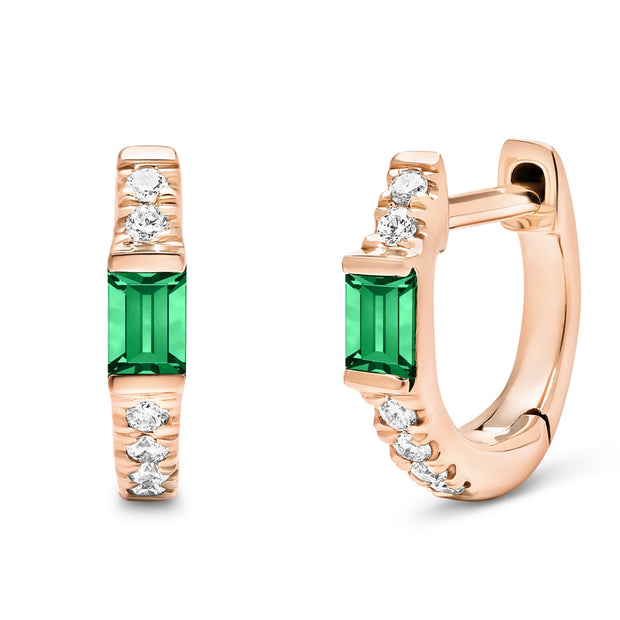 14K Solid Rose Gold Natural Emerald Pave Diamond Hoops