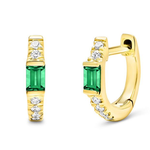 14K Solid Gold Natural Emerald Pave Diamond Hoops