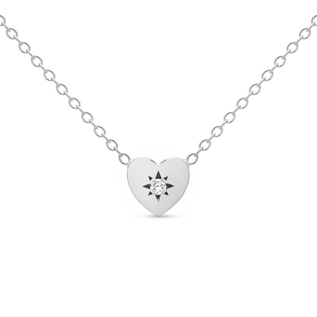 14K Solid Gold Diamond Starburst Disc Necklace White Gold