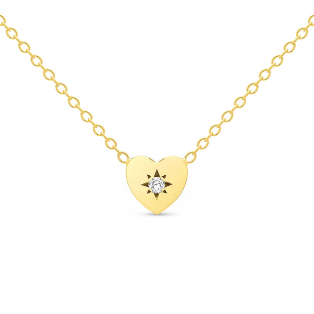 14K Solid Gold Diamond Starburst Disc Necklace