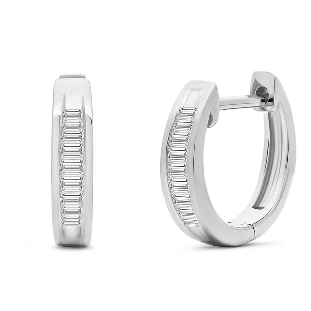 14K Solid White Gold Channel Baguette Diamond Hoops