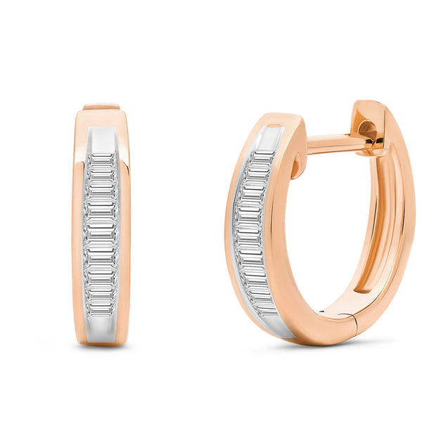 14K Solid Rose Gold Channel Baguette Diamond Hoops
