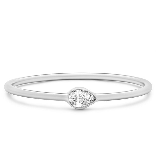 14K Solid White Gold East West Pear Shape Diamond Stacking Ring
